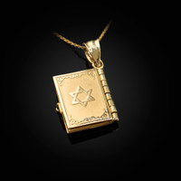 Yellow Gold Judaic Ten Commandments 3D Jewish Bible Necklace