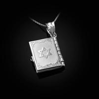 White Gold Judaic Ten Commandments 3D Jewish Bible Necklace