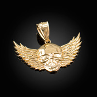 Gold Skull with Wings Deaths Head Biker Pendant