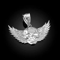 White Gold Skull with Wings Deaths Head Biker Pendant