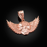 Rose Gold Skull with Wings Deaths Head Biker Pendant