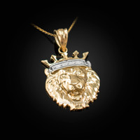 Yellow Gold Lion King Charm Necklace