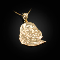 Yellow Gold Benjamin Franklin Pendant Necklace