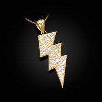 Yellow Gold Lightning Bolt DC Pendant Necklace