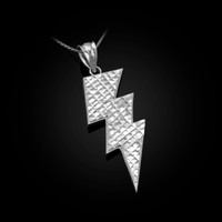 White Gold Lightning Bolt DC Pendant Necklace