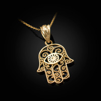 Yellow Gold Filigree Hamsa Evil Eye Charm Necklace