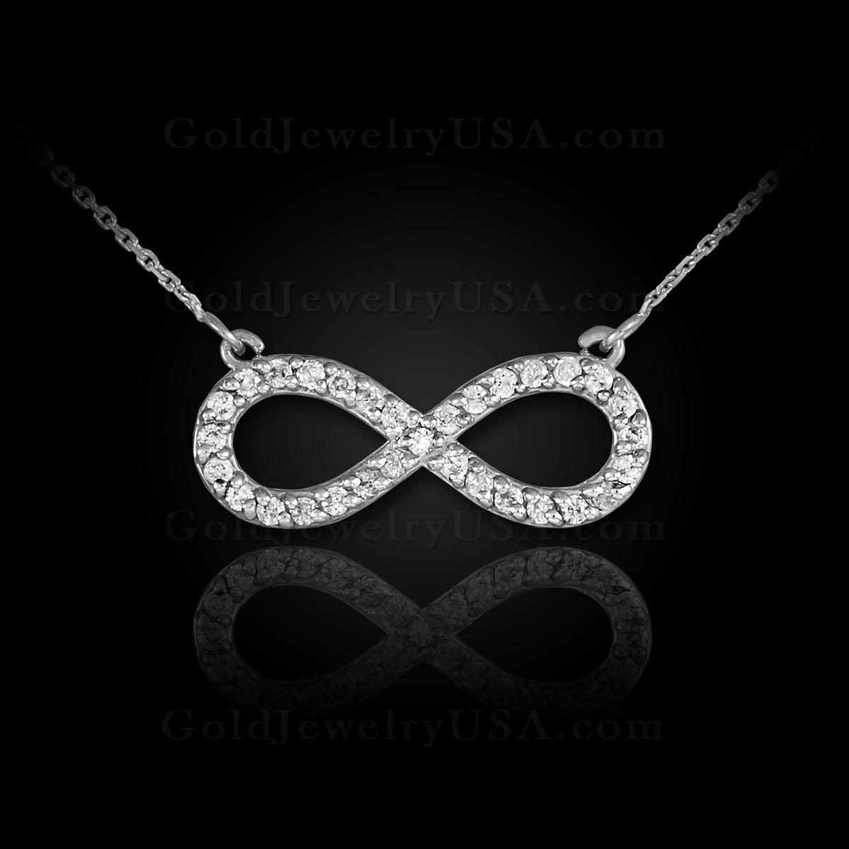 54642de8e825 14K White Gold Diamond Infinity Necklace