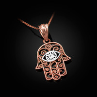 Two-Tone Rose Gold Filigree Hamsa Evil Eye Charm Necklace