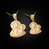 Yellow Gold Virgin Mary Baby Jesus Charm Necklace (S/L)