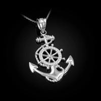White Gold Nautical Anchor Pendant Necklace
