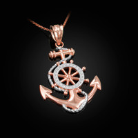 Two-Tone Rose Gold Nautical Anchor Pendant Necklace