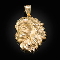Yellow Gold Lion Face Sparkle Cut Pendant (S/L)