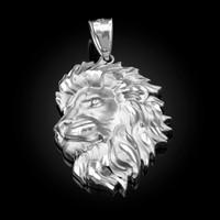 White Gold Lion Face Sparkle Cut Pendant (S/L)