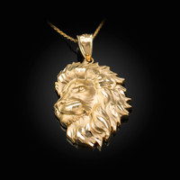 Yellow Gold Lion Face Sparkle Cut Pendant Necklace