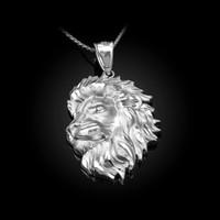 White Gold Lion Face Sparkle Cut Pendant Necklace
