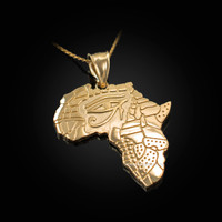Yellow Gold Eye of Horus Africa Map Pendant Necklace