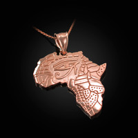 Rose Gold Eye of Horus Africa Map Pendant Necklace
