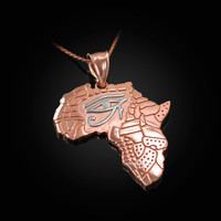 Two-Tone Rose Gold Eye of Horus Africa Map Pendant Necklace