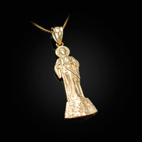 Yellow Gold St. Jude Diamond-Cut Pendant Necklace