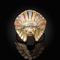 Multi-tone Yellow Gold Indian Chief Ring