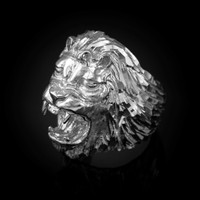 Roaring Lion Men's DC Ring in White Gold