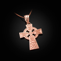 Rose Gold Celtic Cross Charm Necklace