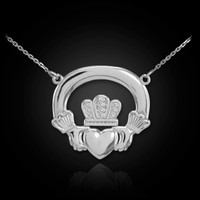 White gold claddagh necklace