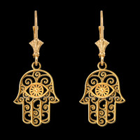 14K Yellow Gold Filigree Hamsa Evil Eye Earrings