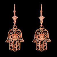 14K Rose Gold Filigree Hamsa Evil Eye Earrings