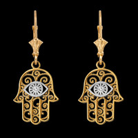 14K Two-tone Gold Filigree Hamsa Evil Eye Earrings