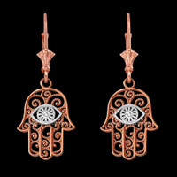 14K Two-tone Rose Gold Filigree Hamsa Evil Eye Earrings