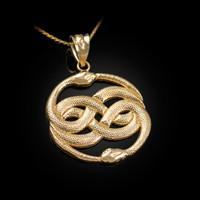 Yellow Gold Double Infinity Ouroboros Snakes Pendant Necklace