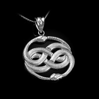 White Gold Double Infinity Ouroboros Snakes Pendant Necklace