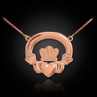 Rose gold Claddagh necklace
