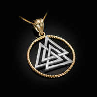 Two-tone Yellow Gold Viking Valknut Pendant Necklace