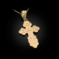 Yellow Gold Eastern Orthodox Cross Pendant Necklace
