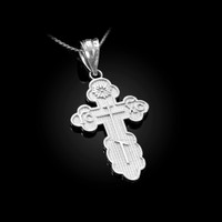 White Gold Eastern Orthodox Cross Pendant Necklace