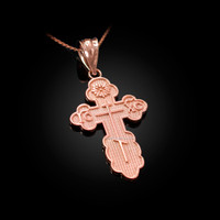 Rose Gold Eastern Orthodox Cross Pendant Necklace