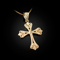 Yellow Gold Elegant Cross Pendant Necklace
