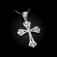 White Gold Elegant Cross Pendant Necklace