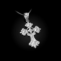 White Gold Fleury Cross Charm Necklace
