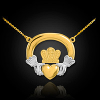 Two-tone gold claddagh necklace