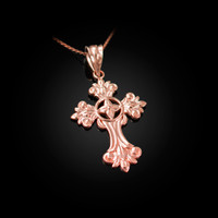 Rose Gold Fleury Cross Charm Necklace