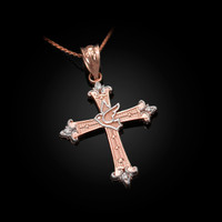 Rose Gold Holy Spirit Dove Cross Diamond Pendant Necklace