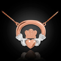 Two-tone rose gold claddagh necklace