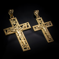 Yellow Gold Filigree Crucifix Cross DC Pendant (S/L)