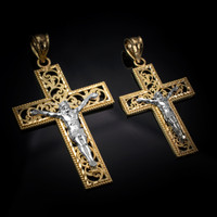 Two-Tone Yellow Gold Filigree Crucifix Cross DC Pendant (S/L)