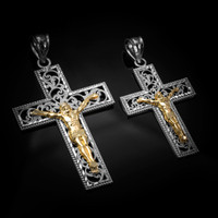 Two-Tone White and Yellow Gold Filigree Crucifix Cross DC Pendant (S/L)