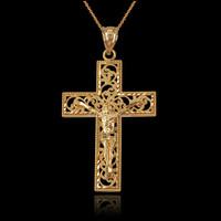 Yellow Gold Filigree Crucifix Cross DC Pendant Necklace
