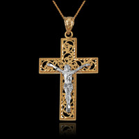 Two-Tone Yellow Gold Filigree Crucifix Cross DC Pendant Necklace